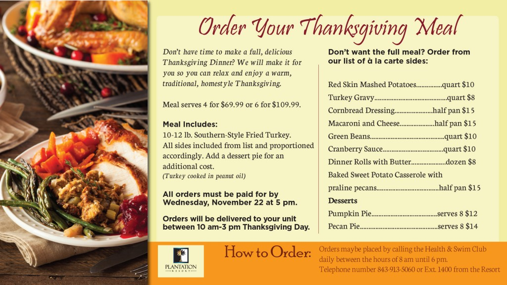 November Calendar of Events for your Myrtle Beach vacation with Thanksgiving Dinner In-Room Dining at Plantation Resort!