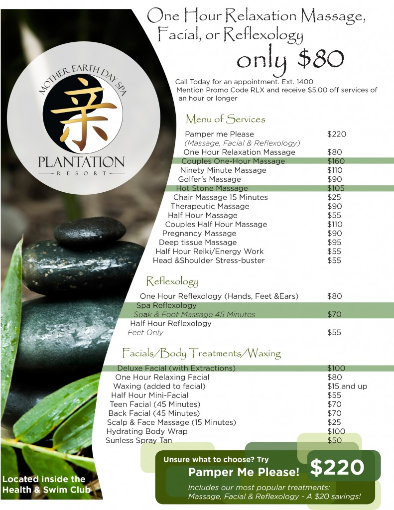 Plantation Resort's Mother Earth Day Spay - Massage at Plantation Resort - Full Menu of Relaxing and Rejuvenating Spa Services