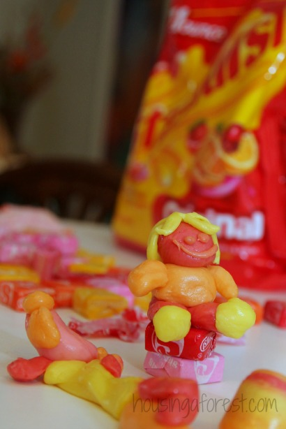 Have extra Halloween candy? Make Starburst candy sculptures!