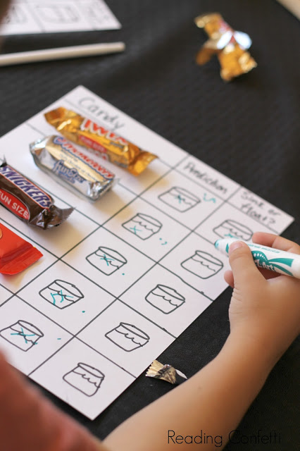 Using your extra Halloween candy to perform science experiments: float or sink candy bars.