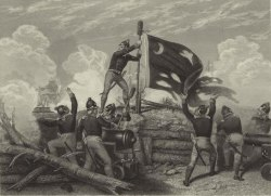 The patriots at Fort Moultrie behind their wall built of palmettos. - Plantation Resort