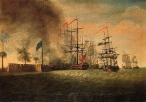 The British ship Actaeon whose column of flame looked like a Palmetto. Plantation Resort