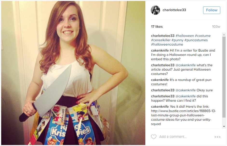 last minute Halloween costume: Cereal Killer costume for your Vacation at Plantation Resort in Myrtle Beach