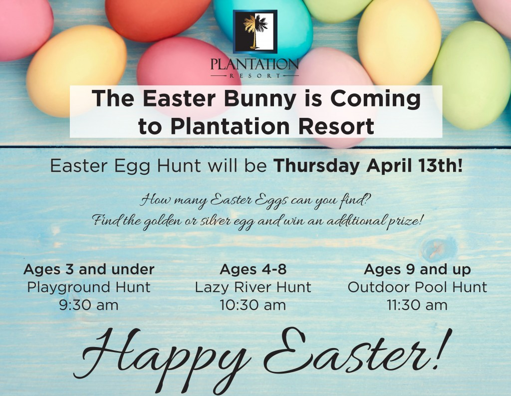 Easter Egg Hunt - Enjoy these Easter events during your Myrtle Beach vacation at Plantation Resort!
