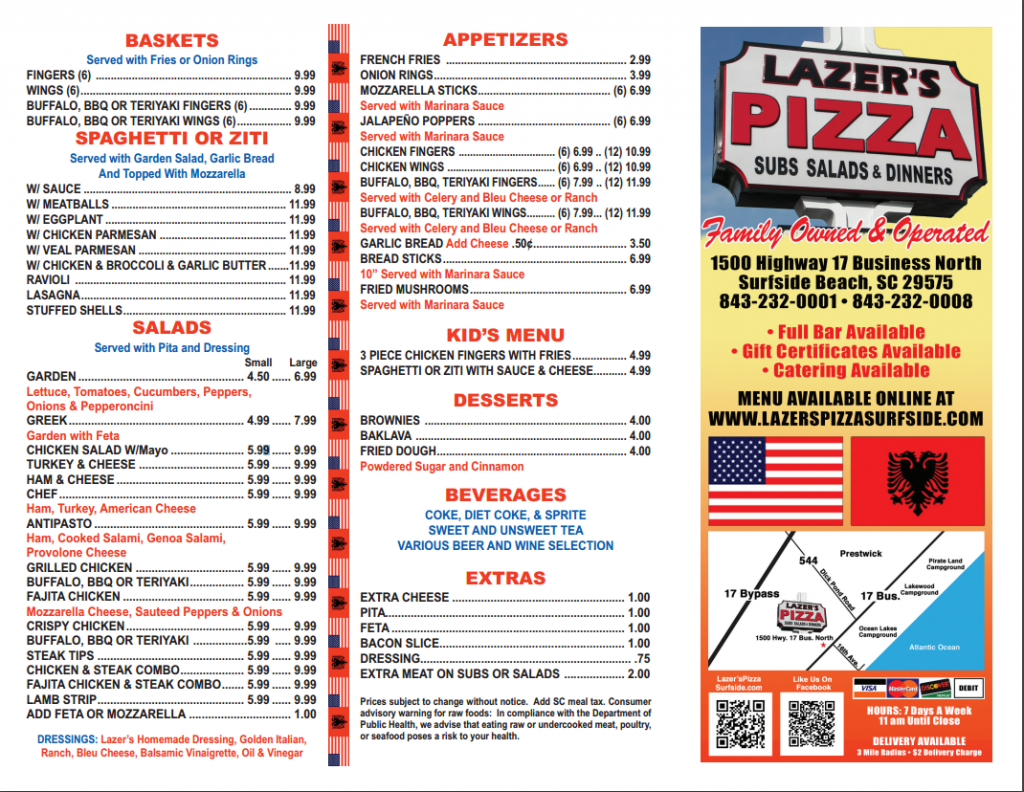 Enjoy Lazer's Pizza during your stay in Myrtle Beach at Plantation Resort.