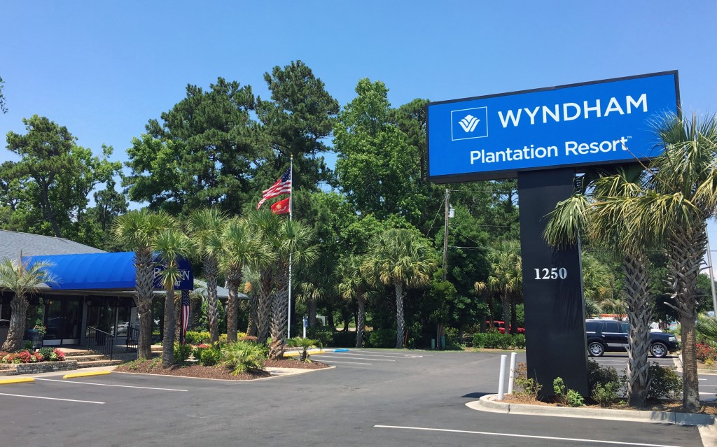FAQ - Plantation Resort's new Wyndham Partner sign welcoming you to your next Myrtle Beach vacation!