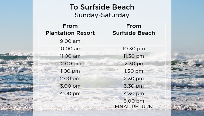 Delight in the many aspects of your Myrtle Beach vacation with the shuttles at Plantation Resort!