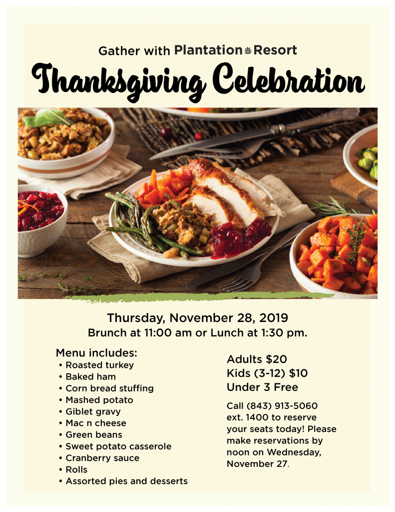 Celebrate Thanksgiving in Myrtle Beach during your vacation at Plantation Resort.