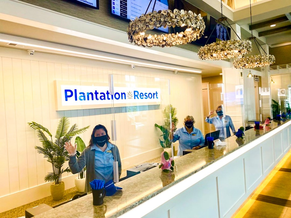 Front Desk at Grand Palms Resort in Surfside Beach preparation for Covid 19