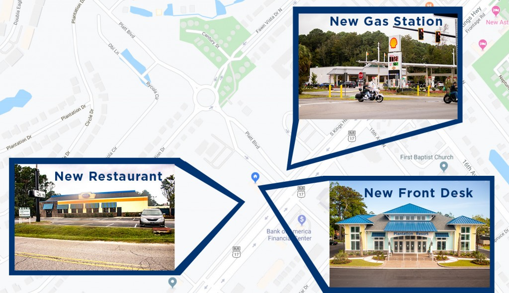 gas station and restaurant on map