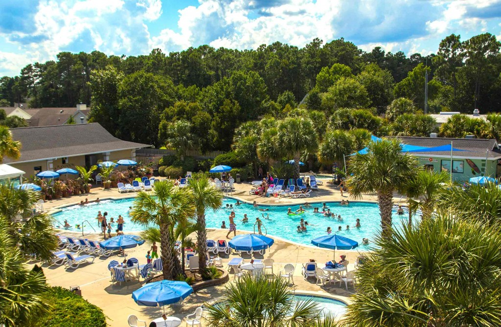 Outdoor-Pool-Overview - Plantation Resort renamed Grand Palms Resort - the best place for your Myrtle Beach vacation.